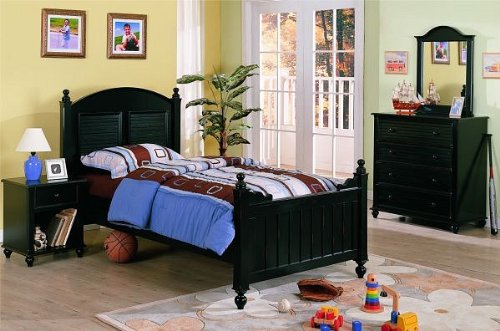 4pc Contemporary Louvered Design Distressed Twin Size Bedroom Set