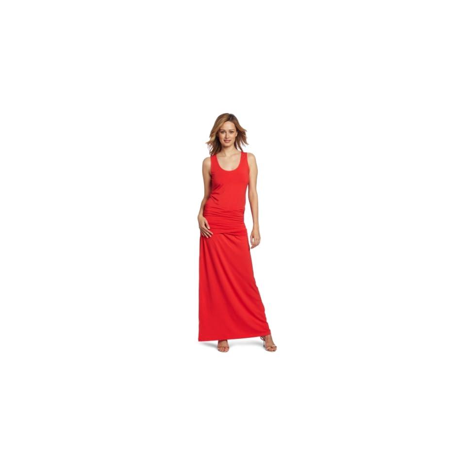 Lilla P Womens Stretch Crossed Waist Maxi Dress, Hibiscus, X Small