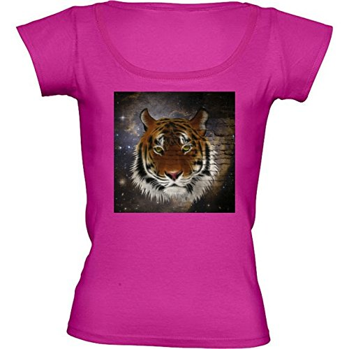 t-shirt-pour-femme-rose-fushia-col-rond-taille-s-tigre-abstraite-by-gatterwe