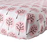 Luvable Friends Woven Crib Sheet, Pink Tree