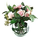 Peony 6594 Artificial Greenery Bowl with Removable Pink Dahlia and Roses in a Large Fishbowl
