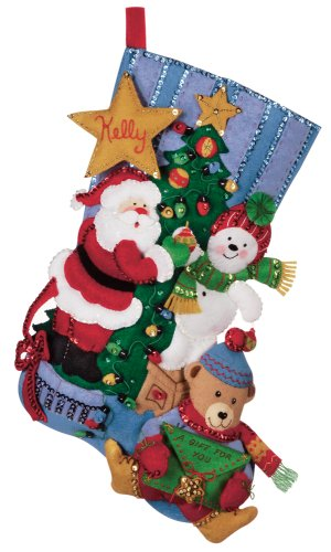 Bucilla 18-Inch Christmas Stocking Felt Appliqué Kit, 86017 Tree Trimming
