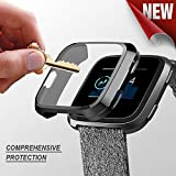 PSRAT Versa Screen Protector TPU All-Around Full Front Protective Case 0.3mm HD Clear Cover for Fitbit Versa Smart Fitness Watch (Black) (Color: black)