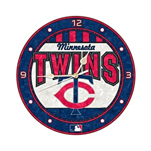 MLB Minnesota Twins 12-Inch Art Glass Clock by The Memory Company