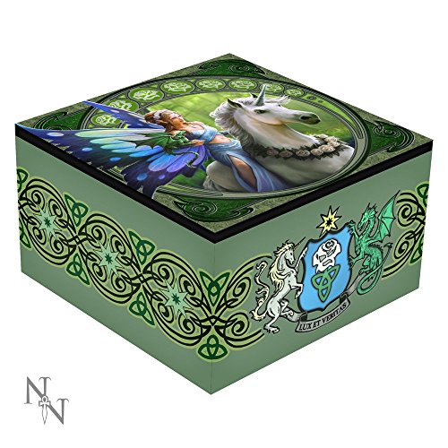 REALM OF ENCHANTMENT FAIRY AND UNICORN MIRROR TRINKET BOX ANNE STOKES - 10CM - NEMESIS NOW by ANNE STOKES