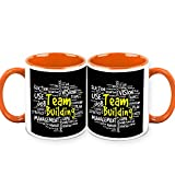 HomeSoGood Team Building Is An Art Office Quote White Ceramic Coffee Mug - 325 Ml (Set Of 2)