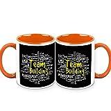 HomeSoGood Team Building Is An Art Office Quote White Ceramic Coffee Mug - 325 Ml (Set Of 2)