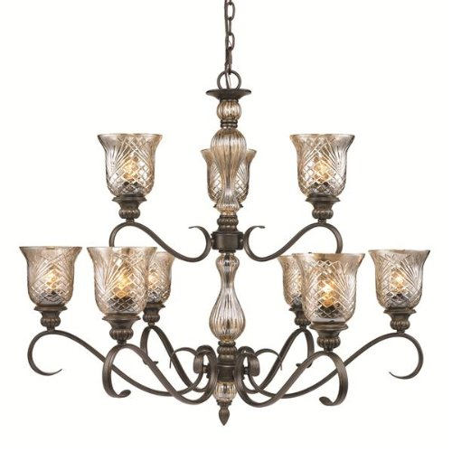 B006OCNQGI Golden Lighting 81189BUS  Chandelier with Heirloom Crystal Glass Shades,  Burnt Sienna Finish