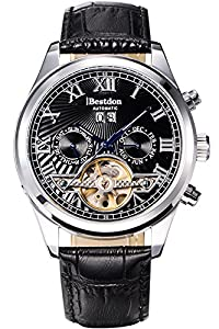 Bestdon Men Casual Luxury Business Luminous Leather Skeleton Mechanical Watches