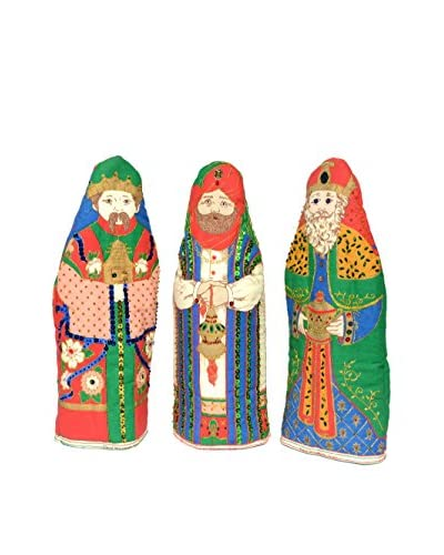 Uptown Down Set of 3 Vintage Wise Men Wine Covers, Multi Color
