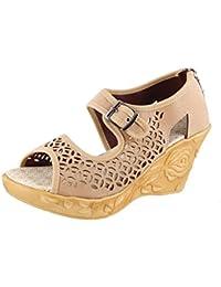 Thari Choice Woman And Girls Synthetic Velvet Wedges Heel Sandal - B01KJWP3BY