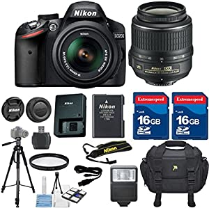 Nikon D3200 DSLR Camera Body Celltime Exclusive TOP VALUE Bundle with Nikon 18-55mm VR Lens + HD U.V. Filter + Deluxe Camera Case + Celltime 6pc Starter Kit + Full Size Tripod + Electronic Flash + 2pcs 16GB Commander Extremespeed Memory Cards + Accessory Kit