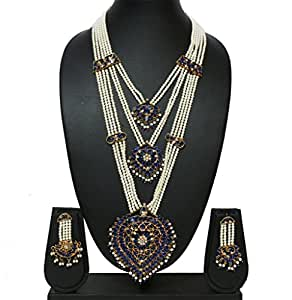 Blue Gold 3 layer Pearl Chain Royal Rani Haar Necklace Set available at Amazon for Rs.2650