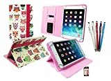 Emartbuy® Hot Pink Stylus + Universal Range Multi-Coloured Owls Pattern Angle Executive Folio Wallet Case Cover With Card Slots Suitable for Odys Visio 10.1 Inch Tablet