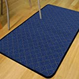 Trellis Blue Anti Slip Utility Kitchen Rug Mat 0.66m X 1.33m (2'3 X 4'5 Approx)