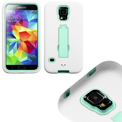 Mylife (Tm) Bright White And Mint - Shock Suit Survivor Series (Built In Kickstand + Easy Grip Silicone) 3 Piece + 2 Layer Case For New Galaxy S5 (5G) Smartphone By Samsung (External Flex Silicone Bumper Gel + Internal 2 Piece Rubberized Snap Fitted Armor