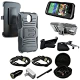 HTC Desire 526 Case, Mstechcorp - HTC Desire 526 (Verizon) Heavy Duty Hybrid Armor Dual Layer Kickstand Belt Clip Holster Combo Rugged Case for HTC Desire 526 - Includes Accessories (Holster Black)