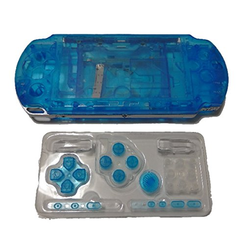 PSP 3000 用 外装 交換 ケース ・ ボタン & 液晶 保護 シート & ドライバー フル セット (ブルー)