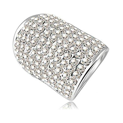 Alimab Gioielli signore anelli di fidanzamento anelli di nozze Donne amore anelli anelli di anelli d'oro placcato in oro bianco 11