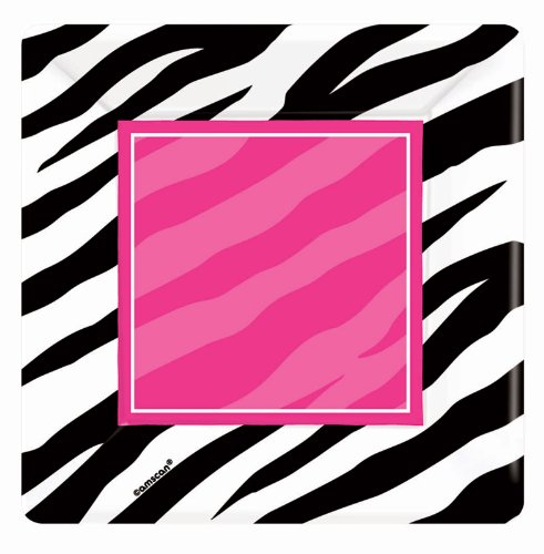 Zebra Square Dessert Plates Party Accessory