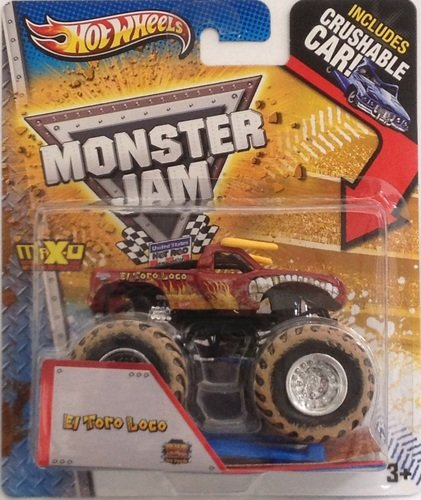 2013 HOT WHEELS MONSTER JAM 1:64 SCALE EL TORO LOCO MONSTER TRUCK WITH CRUSHABLE CAR