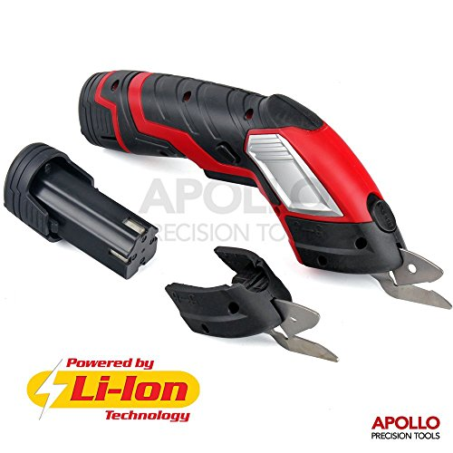 51zgrm%2BPoZL - BEST BUY #1 Apollo 3.6V Multi-Cutter 1300 mAh Lithium-Ion Electric Power Scissors with Safety Switch & Extra Battery and 2 x Cutting Blades. Up to 70 Minutes Continuous Cutting Power per Charge