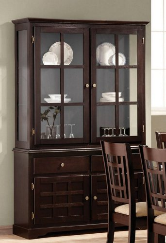 Buy Low Price Coaster China Cabinet Buffet Hutch with Lattice Design Deep Cappuccino Finish (VF_101824)