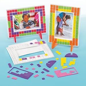 Bilderrahmen bastelsets mosaik f r kinder zum basteln und aufkleben geschenkidee 4 st ck for Mosaik fliesen zum aufkleben