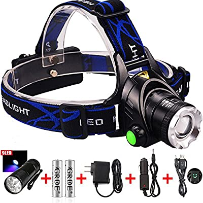 9 LED Flashlight +1800 Lumens 3 Modes Zoomable 3-in-1 Multi-Function CREE XML T6 Waterproof Led Headlamp + 2 X 18650 Rechargeable Batteries +Wall Charger+Car Charger+ Headlight Special USB Cable ; Suitable for Working ,Camping, Hunting, Running, Fish