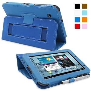 Snugg - Etui Bleu Electrique pour Galaxy Tab 2 7.0 servant de housse support, avec sangle elastique et interieur en nubuck de premiere qualite - Pour Samsung 2 7.0 uniquement - Concu par Snugg