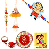 Gomati Ethnic Ethnic Meenakari Pooja Thali Raksha Bandhan Gift Rakhi For Brother With Gift Combo And Rakhi For Bhaiya Bhabhi Combo Free Shipping+Roli+Chawal+Greeting Card !!-1Bbkts540