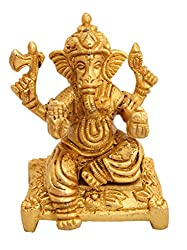 IndianArtVilla Handmade Beautiful Brass Lord Ganesh Ji God for Hinduism Religious Antique Art Home Decorative Temple Showrooms Office Puja Diwali Gift Item