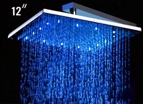 """Alfi Led5008 12"""" Square Led Rain Bathroom Shower Head In Chrome"""
