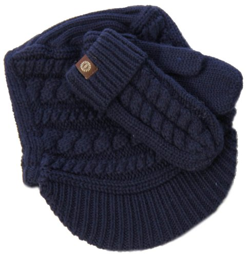 UGG Kids Cable Mitten & Visor Box Set in Indigo Blue by UGG® Australia
