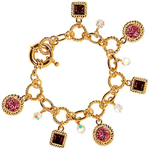 Cristalina 18K Gold Plated Multi-Crystal Swarovski Charm Bracelet with Oversized Bolt Clasp of 19cm