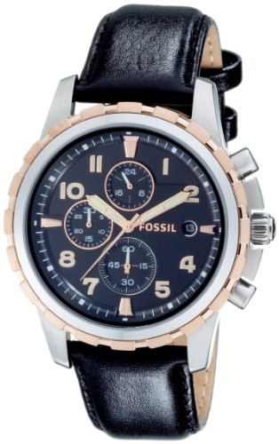 Fossil Mens Watch FS4545 with Black Multi Dial, Stainless Steel and Rose Gold Case With a  Black Leather Strap