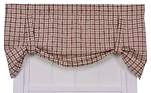 Ellis Curtain Bristol Collection Two-Tone Plaid Tie-Up Valance Curtain from Ellis Curtain