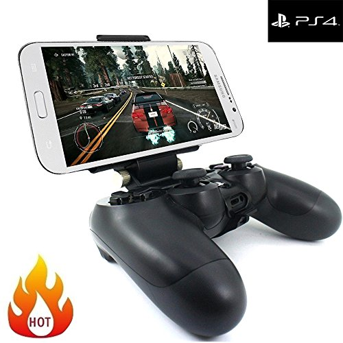 Megadream® [2nd Generation] Smart Phone Mini Tablet Clamp Clip Holder for Playstation 4 Controller, 180 Degree Adjustable Mount Stand Maximum 7.9 inch Nokia N1, Samsung Galaxy Tab 4, Kindle Fire-Black