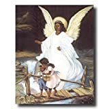 Guardian Angel With Children On Bridge African American Black Religious Home Decor Wall Picture 16x20 Art Print