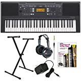 Yamaha PSRE343 61-Key Portable Keyboard with Yamaha AC Power Adapter Single X-Style Keyboard Stand Full Size Stereo Headphones and Alfred