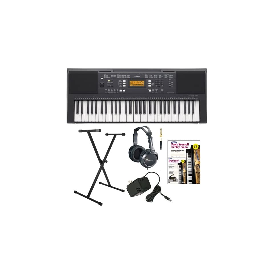 Yamaha PSRE343 61 Key Portable Keyboard with Yamaha AC Power Adapter, Single X Style Keyboard Stand, Full Size Stereo Headphones and FastTrack Keyboard Method Starter Pack