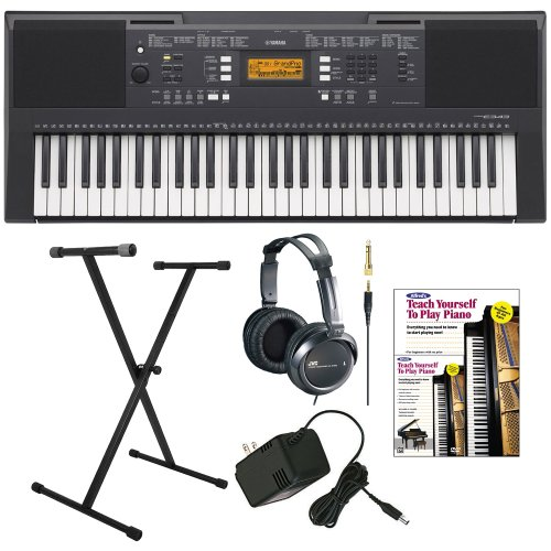 Yamaha Psre343 61-Key Portable Keyboard With Yamaha Ac Power Adapter, Single X-Style Keyboard Stand, Full Size Stereo Headphones And Alfred'S Teach Yourself To Play Piano - Book + Dvd