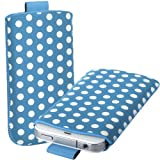 Online-Gadgets UK - Huawei Ascend G300 Polka Dot Premium PU Leather Pull Tab Flip Case Cover Pouch - Blue