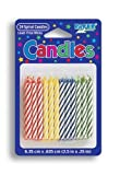 Striped Spiral Birthday Candles- Red Yellow Blue Green - 2.5 Inches Tall (24 Candles in Pack)