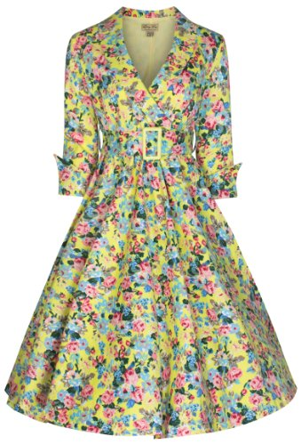 Lindy Bop 'Vivi' Vintage 1950's Style Yellow English Rose Floral Print Dress