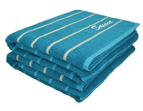 Betz 2 Stück Saunatücher XXL Badetuch Duschtuch Handtücher Set ICELAND 100% Baumwolle Saunahandtücher Größe: 80x200 cm Farbe petrol