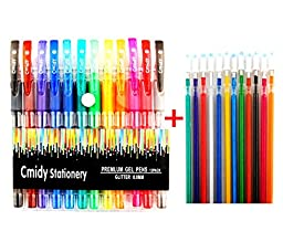 Glitter Gel Pens Set of 12 Prime Color Art Gel Pens with Bonus 12 Gel Ink Refills Professional Artist Premium Quality Assorted Colored Pens Comfort Grip for Adults and Kids Coloring Drawing Book Gift