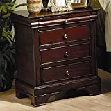 Coaster Nightstand Louis Philippe Style in Deep Mahogany Finish