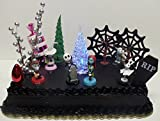 Nightmare Before Christmas 17 Piece Birthday Cake Topper Set Featuring 2 to 3 Cake Topper Figures of Lock, Shock, Zero, Jack Skellington, Sally, Barrel and Other Decorative Themed Accessories