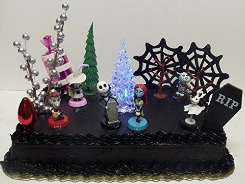 nightmare before christmas 17 piece birthday cake topper set featuring 2 to 3 cake